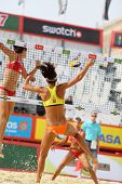 MOSCOW - JUNE 6: Female teams from USA jump in Country Quota at tournament Grand Slam of beach volle