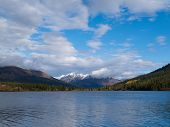 Fall mountain landscape of Lapie Lake Yukon Canada