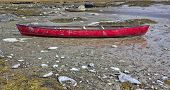 Red Canoe At Low Tide