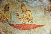 Frescos Of Ladies In Sigiriya Style At The Palace Of Kashyapa, Sigirya, Sri Lanka