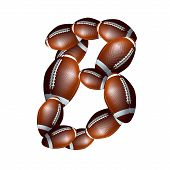 american football alphabet  - letter font B