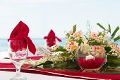 table center piece. wedding table decoration isolated over white
