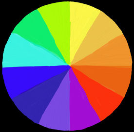 stock photo of color wheel  - colour wheel painted using digital brushes - JPG