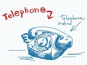 Sketch of old telephone Vector