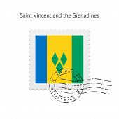 Saint Vincent and the Grenadines Flag Postage Stamp.