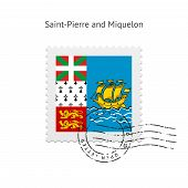 Saint-Pierre and Miquelon Flag Postage Stamp.