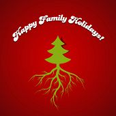 Christmas Tree with roots vector design template. Root - means Family - Happy Holidays concept.