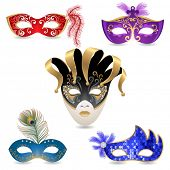 foto of stage decoration  - 5 bright carnival masks - JPG