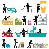 stock photo of supermarket  - ICONS OF MEN AND WOMEN EMPLOYEES IN THE SUPERMARKET - JPG