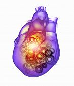 Human heart image with mechanisms. Health and medicine
