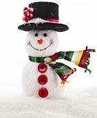 Cheerful Christmas snowman close up with scarf with copy space, isolated on white background