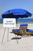 Happy New Year Beach Sign