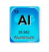 Aluminium chemical element with atomic number, symbol and weight