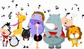 stock photo of rhino  - Cute group of animals sings in winter - JPG