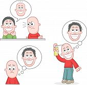 stock photo of pelade  - Cartoon bald man mad at friend joking he has flat bald head - JPG