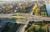 KRAKOW, POLAND - OCT 20:  Aerial view of one of the districts in historical center of Krakow, Oct 20