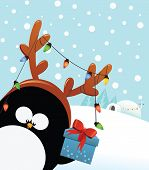Penguin with Reindeer Costume