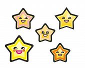 Cute yellow kawaii manga vector stars hand drawn illustration isolated on white background.