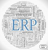 Enterprise Resource Planning System ERP in vector word tag cloud
