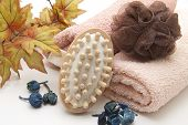 Fleece Towel with Net Sponge and Massage brush
