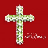 Merry Christmas and Happy New Year 2014 celebration concept with stylish Christian Cross on abstract