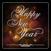 Happy New Year 2014 celebration background with stylish text on shiny brown background.