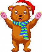 Cute brown bear cartoon wearing red hat