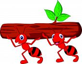 Team of ants cartoon carries log