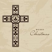 Merry Christmas and Happy New Year 2014 celebration concept with Christian Cross.