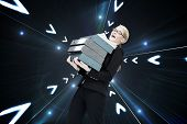 Composite image of overworked businesswoman carrying many folders