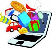 Online shopping cartoon