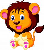 image of cute tiger  - Vector illustration of Cute young tiger cartoon - JPG