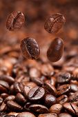 Four Falling Beans And Dark Roasted Coffee