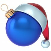 Christmas ball Happy New Year bauble decoration blue ornament Santa hat icon