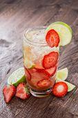 Glass With Strawberry Caipirinha