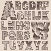 Grunge scratched alphabet set, vector font