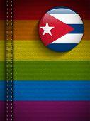 Gay Flag Button On Jeans Fabric Texture Cuba