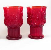 two red wine glasses paralell