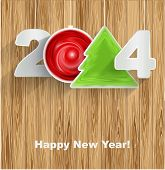 Happy New Year 2014 On Wood Background