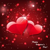 Vector red hearts on abstract background
