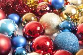 New year background with colorful decoration ball