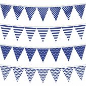 dots stripes chevron triangles patterned flags on gray rope blue holiday decoration bunting set