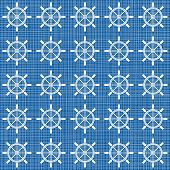 picture of rudder  - white rudder wheels in rows on blue background grunge seamless pattern - JPG