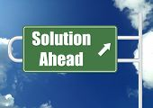 Solution ahead road sign board