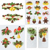 Collection of Christmas cards, banners and decorations with bullfinches, bells and pendants.