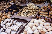 stock photo of hanukkah  - Fresh Hanukkah cakes in the market in Israel