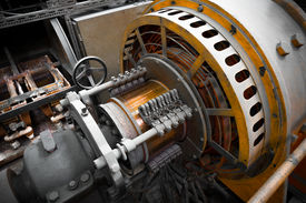 picture of dynamo  - an electric power generator dynamo detail component - JPG