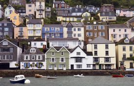 stock photo of dartmouth  - Houses stacked up the hillside at Dartmouth - JPG