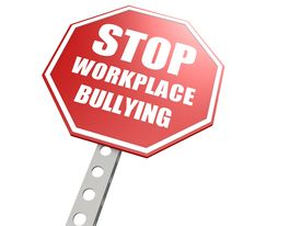 stock photo of disrespect  - Stop workplace bullying road sign image with hi - JPG
