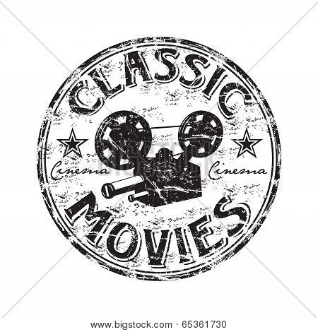 Постер, плакат: Classic movies grunge rubber stamp, холст на подрамнике